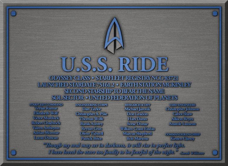 Dedication Plaque - USS Ride